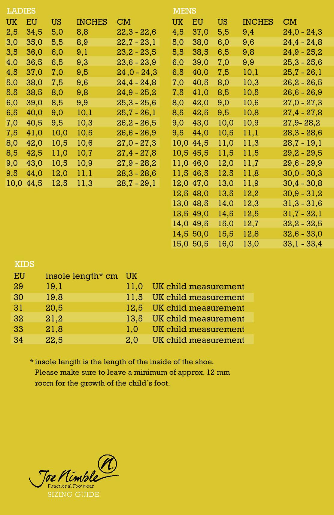 Shoe size chart for men & women