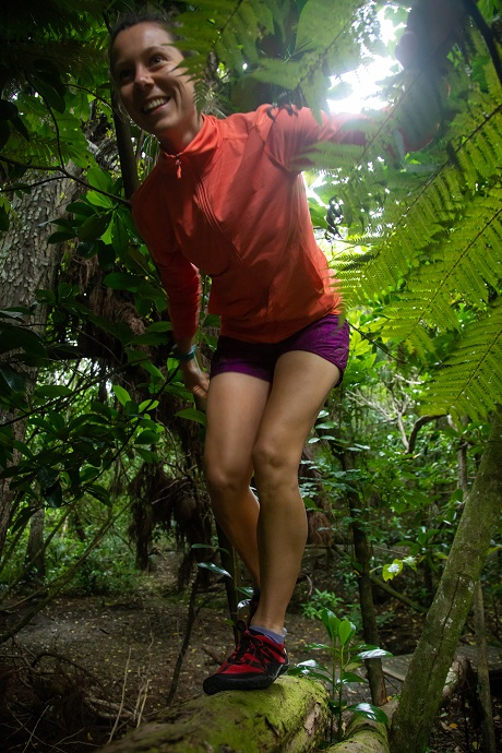Natalie Gallant wearing nimbleToes for trail running